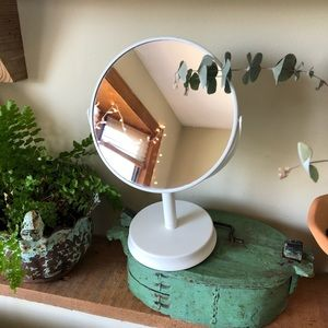 White Vanity Magnified Double Table Top Mirror NWT